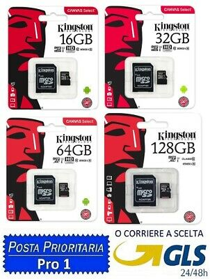 KINGSTON ORIGINALE Micro SD 16 32 64 128 256 GB CLASS 10 MICROSD SCHEDA MEMORIA