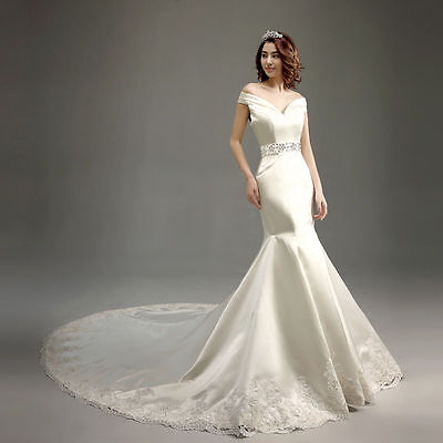 Lace up Back Fishtail Long train WEDDING Dress Brial GOWN SIZE6,8,10,12,14,16