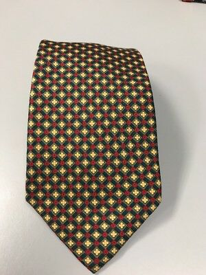 LANDS' END 3.5X57 Red Green Yellow Geometric  SILK NECKTIE TIE Hand Sewn In USA