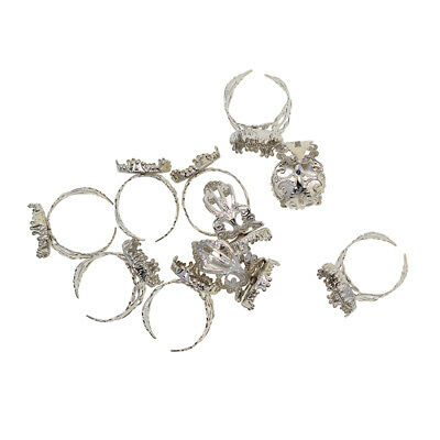 10x Adjustable Ring Base Cabochon Bezel Crown Settings Blanks Jewelry Making