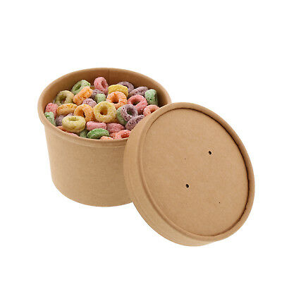 Royal 8 oz. Kraft Paper Soup/Hot/Cold Food Container and Lid Combo, Pack of 250