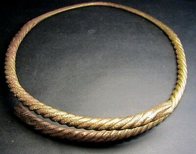 Ancient Bronze Viking Neck Torc. SNAKE! Сleared. (7.1).