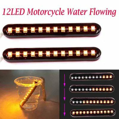 2 X Flowing Motorcycle 12 LED Turn Signal Tail Light Blinker Strip Amber Trailer