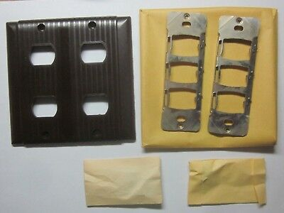 1 Bryant Uniline 2-Gang 4 Despard Switch Plate Wall Cover Ribbed Brown Bakelite