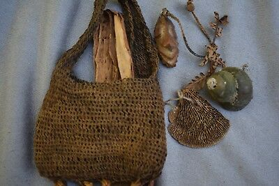 "ORIG $699 PAPUA NEW GUINEA SHAMANS AMULET BAG 8"" EARLY 1900S prov"