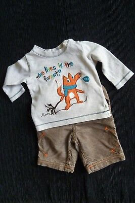 Baby clothes BOY newborn 0-1m outfit LS fox beige top/brown/orange cord trousers