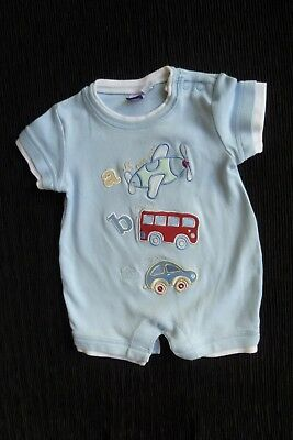 Baby clothes BOY newborn 0-1m Babble Boom ABC vehicles blue SS romper summer
