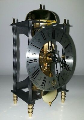 Franz Hermle Mantel Clock Galahad Skeleton Chime 14 Day Bell Strike Working VTG
