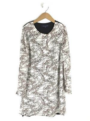 6e810ada50ddac FRENCH CONNECTION WOMENS White   Nude Printed Silk Shirt Dress Size ...