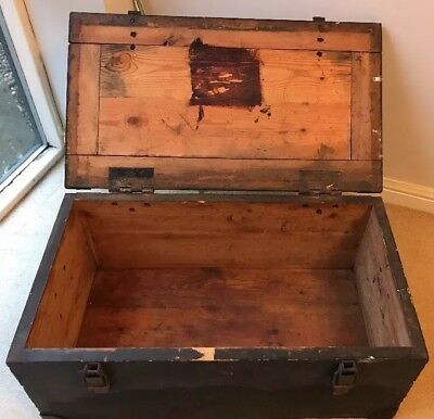 Very Heavy Georgian? Antique Large Sea Chest /Trunk /Tool/Log Box