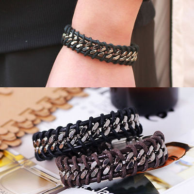 Men's Black Braided Leather Silver Stainless Steel Cuban Chain Bracelet Bangle