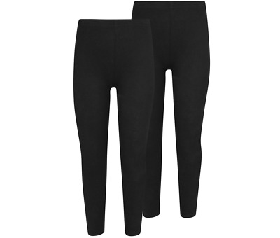 Girls Black Plain Kids Full Long Length Cotton School Sport Fashion Leggings