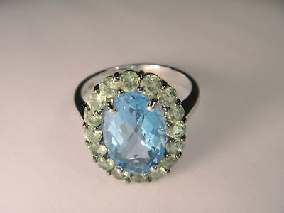Magnificent 14K White Gold Huge Blue Topaz Peridot Ring Band