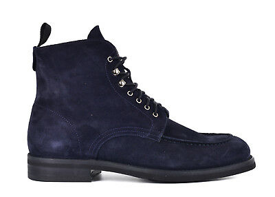 Sutor Mantellassi Mens Blue Suede Lace Up Moccasin Combat Boots 7UK US8~RTL $950