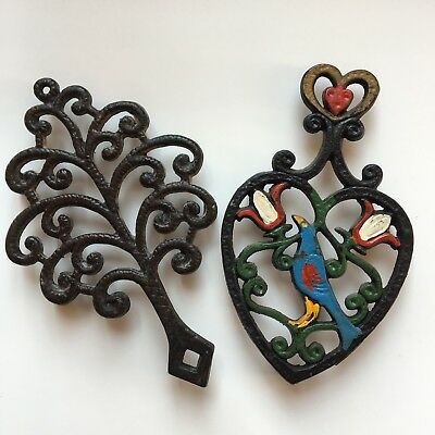 Cast iron Trivet 2 tree and Painted heart shape with bird and flowers vintage