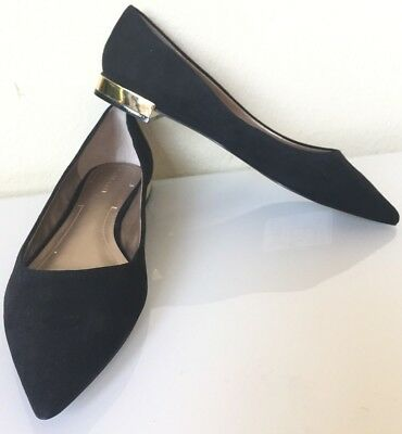 e00d9ab2088 NEW Tahari Black suede flat shoes pointy toe gold block heel Size 8.5