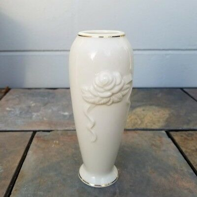Small Lenox Vase Rosebud Design Ivory With Gold Trim 6 Tall