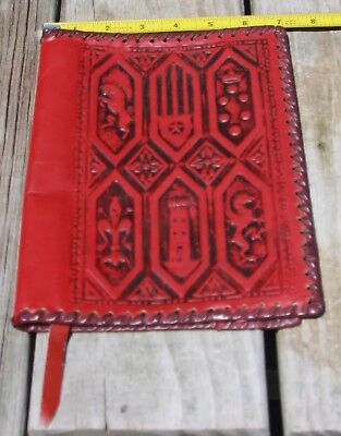 antique vintage hand tooled leather Bible cover BEAUTIFUL new-old-stock