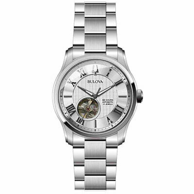 Bulova Men's Wilton Silver Dial Stainless Steel Automatic Classic Watch 96A207