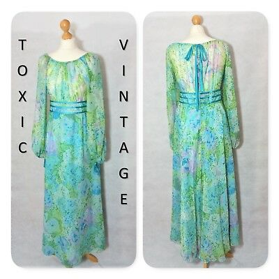 VINTAGE 1960's 1970's BLUE GREEN FLORAL MAXI DRESS UK 12 RETRO, CHIC, BOHO, CUTE