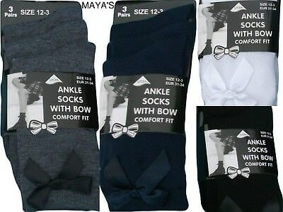 Girls School Ankle Socks With Bow Fashion Uniform School 3 Pairs~~All Sizes