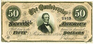 1864 Confederate States Of America $50 Richmond Note T-66 Extremely Fine
