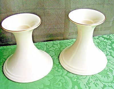 "Set of (2) LENOX Candlestick Holders - 4"" Tall & Trimmed in 24 Karat Gold"