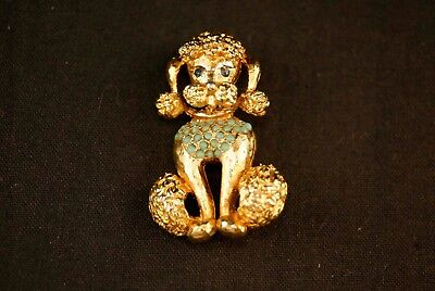 1950s Gold Plated Turquoise Studded Poodle Vintage Pin