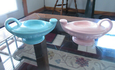 Vintage CAMARK ARKANSAS POTTERY Pair of Aladdin Lamp Style Candle Holders #605