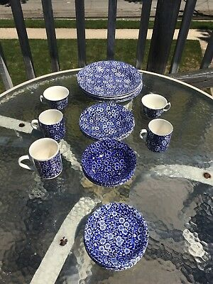 25-pc Cobalt Blue Calico Crownford Staffordshire Plates, Cups, Mugs From England