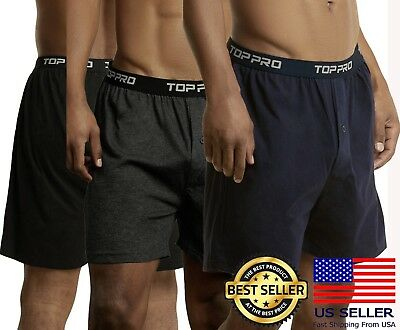 Men's Classic Knit Boxers Quality Cotton Waistband Underwear 2 or 4pc S - 2XL