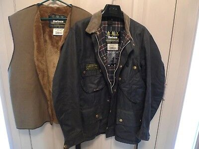 Barbour- A7 International Suit  Waxed Cotton Jacket & Liner -Made @ Uk- Size 44
