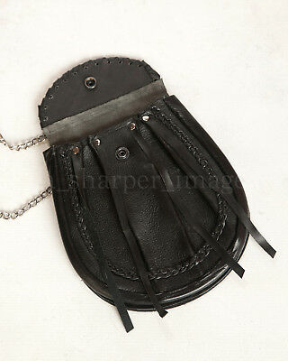 Black Leather Medieval Day-Pouch | Everyday Celtic Sporran Reenactment Cosplay