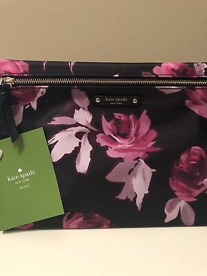 df633b1273 NWOT Kate Spade Large Drewe Wilson Road Rose Symphony Black Pouch Clutch