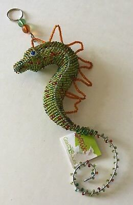 Sea Horse Hanging Beadworx Grass Roots Glass Beads Figurine Collectible