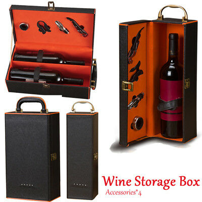 PU Leather Wine Bottle Holder with 4 Wine Bar Tools and Accessories Gift Box