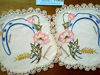 Gorgeous 2 x Horse shoe and Flowers/Grass   ~ Vintage Hand Embroidered Doilies