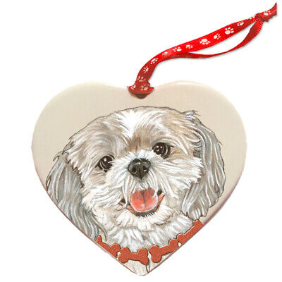 Shih Tzu Porcelain Heart Ornament
