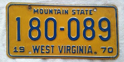 1970 West Virginia ~ Mountain State ~ Passenger License Plate #180-089  W VA