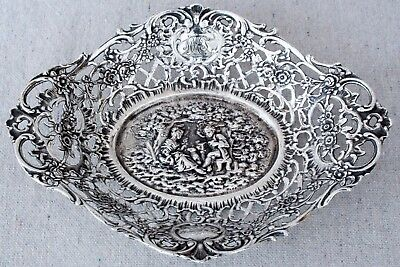 Antique Shreve & Co Ornate Sterling Silver Sweetheart Calling Card Dish Bowl