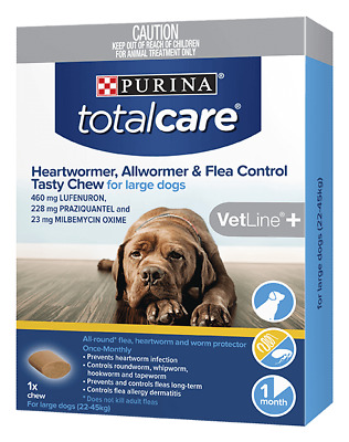 purina total care heartwormer allwormer & flea control tasty chew for large dogs