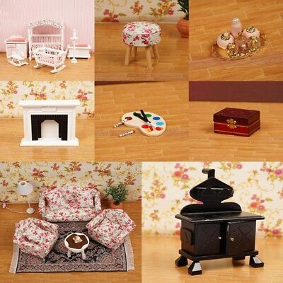 1/12 Dollhouse Miniature Wooden Kitchen Furniture Sofa Chair Bedroom Kids&Decor