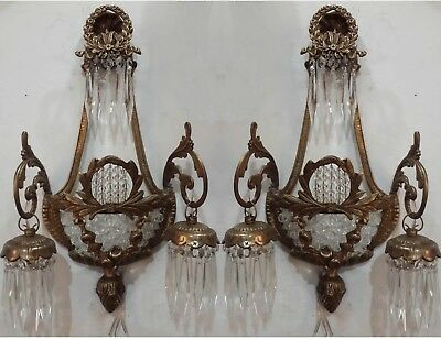 Pair Antique Replica Crystal Brass French Empire Ornate Wall Sconces