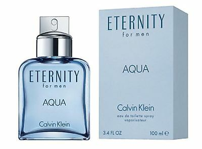 New ETERNITY AQUA by Calvin Klein for Men Cologne 3.4 oz edt New in Box