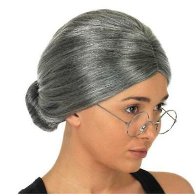 Grey Granny Wig Book Week Red Riding Hood Old Woman Ladies Fancy Dress FI