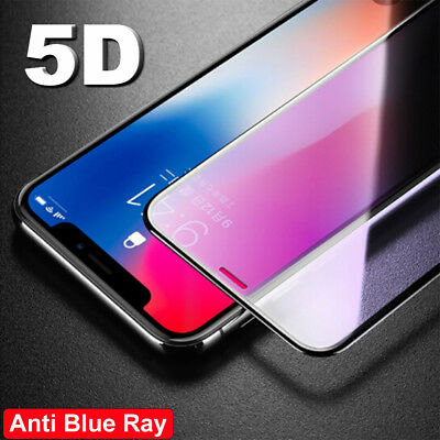 5D Curved Tempered Glass Anti Blue Ray Screen Protector For iPhone X 8 7 6s Plus