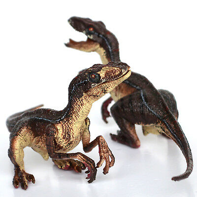 2x Velociraptors Realistic Raptors Dinosaur Toy Movable Jaw Arms Kids Best Gift