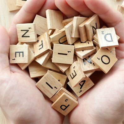 200 Pcs Wooden Alphabet Scrabble Tiles Black Letters&Numbers For Crafts Wood New