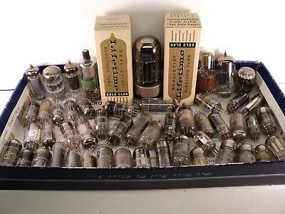 50 Piece Lot of Radio & TV Vacuum Tubes!  Realistic, Sylvania, Magnavox, Philco