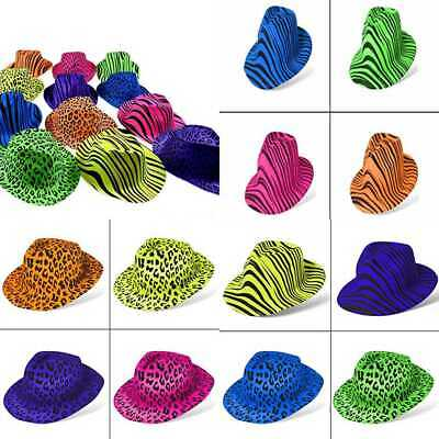 41bd9488467 Party Stars Neon Fedora PLASTIC Hats Gangster Style   UV Blacklight Glow  For Kid
